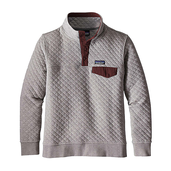 Patagonia Cotton Quilt Snap-T Womens Mid Layer, Drifter Grey-Dark Ruby, 600