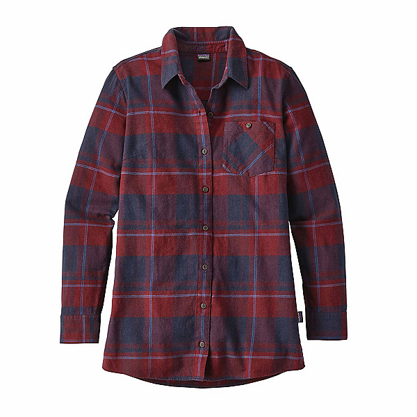Patagonia Aspen Forest Tunic Womens Shirt, Wind Weaver Plaid-Drumfire Red, 600