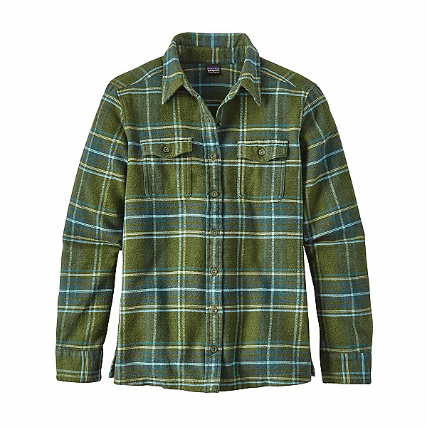 Patagonia Long Sleeved Fjord Womens Flannel Shirt, Big Sky Plaid-Buffalo Green, 600