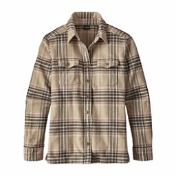 Patagonia Long Sleeved Fjord Womens Flannel Shirt, Big Sky Plaid-Mojave Khaki, 256