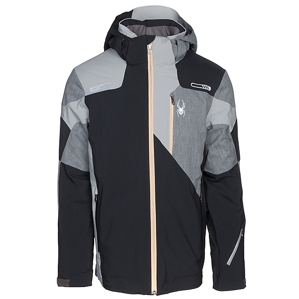 Spyder Vyper Mens Insulated Ski Jacket, Black-Polar Herringbone, 600