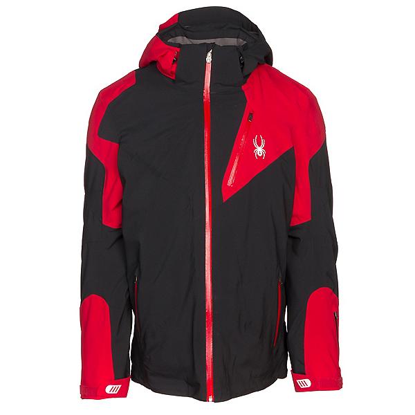 Spyder Leader Mens Insulated Ski Jacket, Black-Red, 600