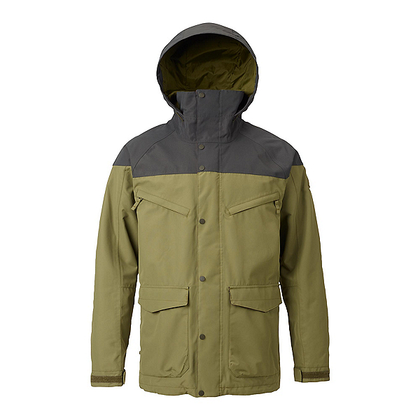 Burton Breach Mens Shell Snowboard Jacket 2018, Forest Night-Olive Branch, 600