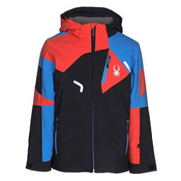 Spyder Leader Boys Ski Jacket, Black-French Blue-Burst, 256