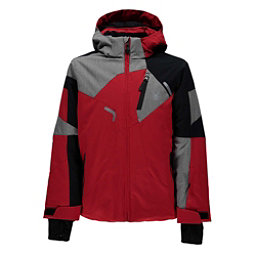 Spyder Leader Boys Ski Jacket, Red-Black-Polar Herringbone, 256