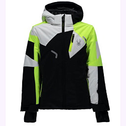 Spyder Leader Boys Ski Jacket, Black-Bryte Yellow-White, 256
