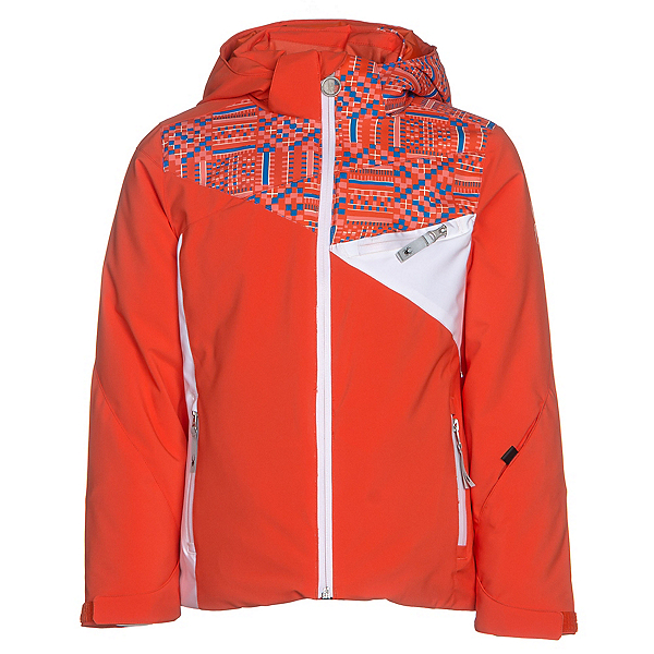Spyder Project Girls Ski Jacket, Burst-Coral Geo Print-White, 600
