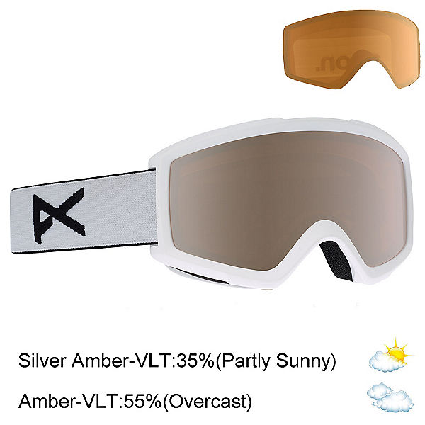 Anon Helix 2.0 Goggles 2020, White-Silver Amber + Bonus Lens, 600