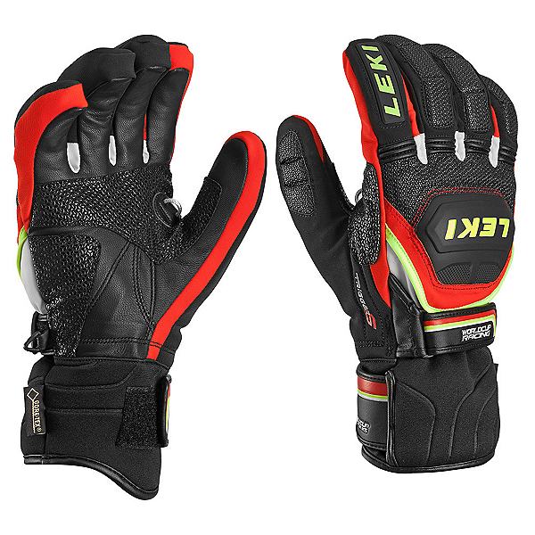 Leki WC Race Coach Flex S GTX Ski Racing Gloves, Black-Red-White-Yellow, 600