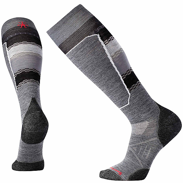 SmartWool PhD Ski Light Elite Pattern Ski Socks, Medium Gray, 600