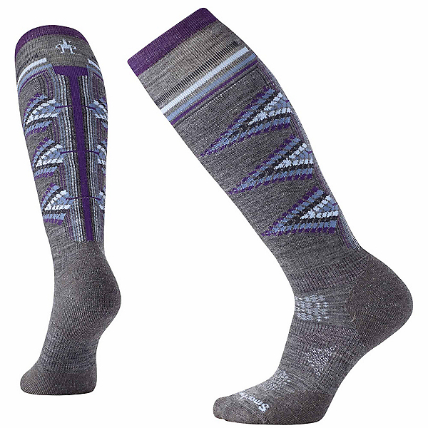 SmartWool PhD Ski Light Pattern Womens Ski Socks, Medium Gray, 600