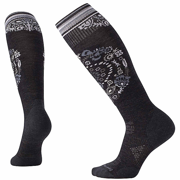 SmartWool PhD Ski Light Elite Pattern Womens Ski Socks, Charcoal, 600