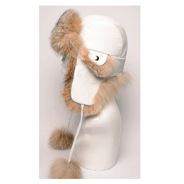 Mitchies Matchings Leather and Fur Trooper Womens Hat, Lynx-White Leather, 600