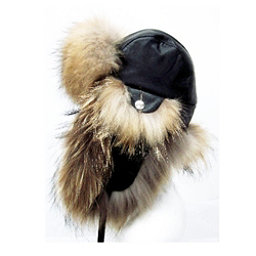 Mitchies Matchings Leather and Fur Trooper Womens Hat, Finn Raccoon-Black Leather, 256