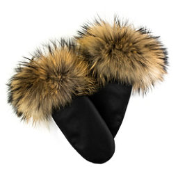 Mitchies Matchies Leather Mittens w/Fur Trim Womens Mittens, Black Leather-Finn Raccoon, 256