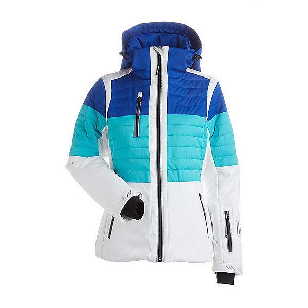 NILS Beth - Petite Womens Insulated Ski Jacket, White-Turquoise-Blue Blaze, 600