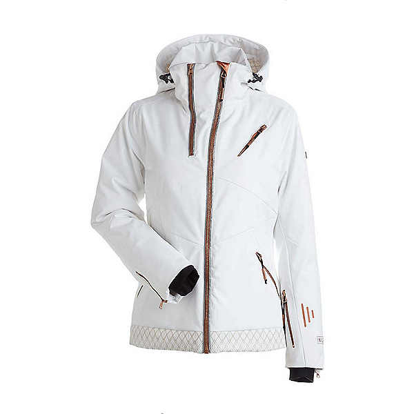 NILS Bianca Special Edition Womens Insulated Ski Jacket, White-Copper Geo Print, 600