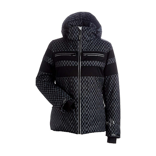 NILS Britt Womens Insulated Ski Jacket, Black-White Geo Print-Black, 600
