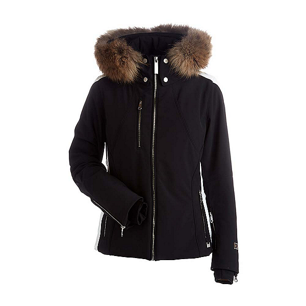 NILS Kassie Real Fur Womens Insulated Ski Jacket, Black-White, 600