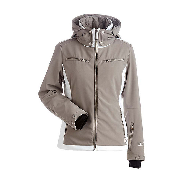 NILS Kristi Womens Insulated Ski Jacket, Mushroom-White, 600