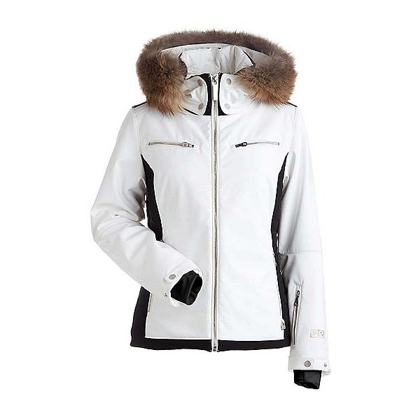 NILS Kristi Real Fur Womens Insulated Ski Jacket, White-Black, 600