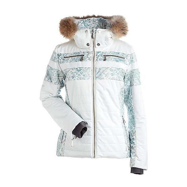 NILS Ida Real Fur Womens Insulated Ski Jacket, Winter White-Fjord Print, 600