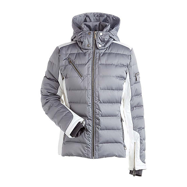 NILS Ula Womens Insulated Ski Jacket, Steel Grey-Winter White, 600