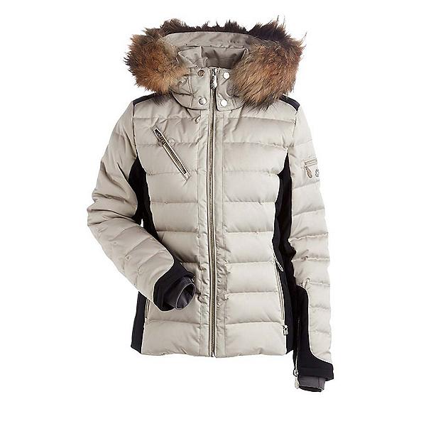 NILS Ula Real Fur Womens Insulated Ski Jacket, Champagne-Black, 600