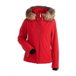 NILS Kassandra Real Raccoon Fur Womens Insulated Ski Jacket, Red, 256