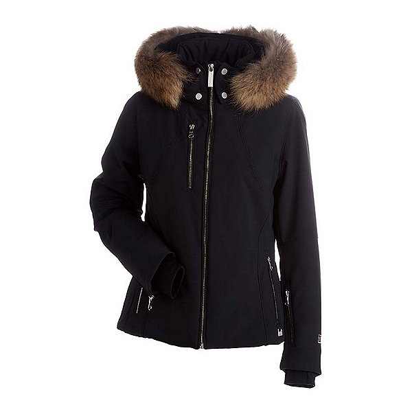 NILS Kassandra Real Raccoon Fur Womens Insulated Ski Jacket, Black, 600
