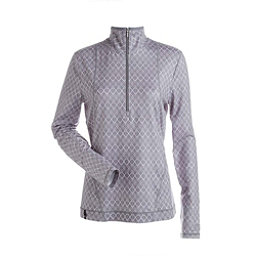 NILS Brooklyn Print 1/2 Zip Womens Long Underwear Top, Steel Grey White Geo Print, 256