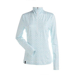 NILS Brooklyn Print 1/2 Zip Womens Long Underwear Top, White Turquoise Geo Print, 256