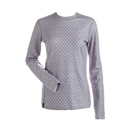 NILS Kayla Print Womens Long Underwear Top, Steel Grey White Geo Print, 256