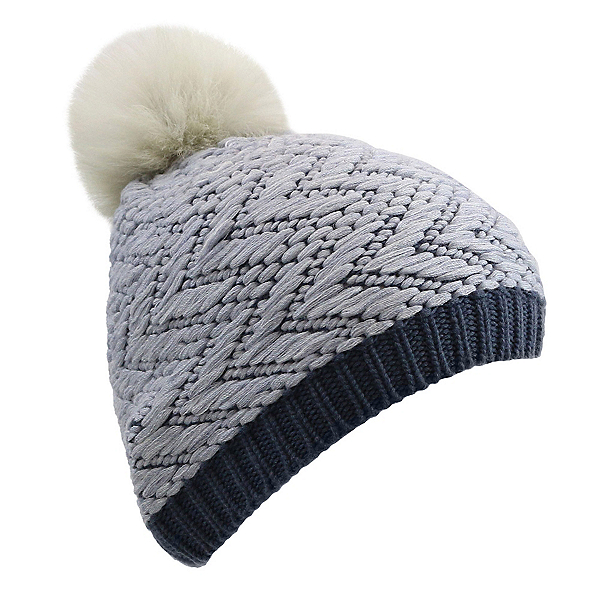 UGG Chevron Beanie w/Fur Pom Womens Hat, Nocturn M, 600