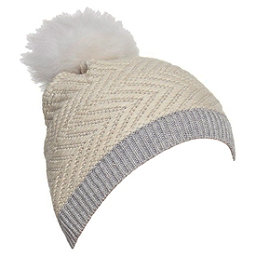 UGG Chevron Beanie w/Fur Pom Womens Hat, Sterling Heather M, 256