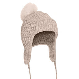 UGG Beanie w/Fur Pom Womens Hat, Oatmeal Heather, 256