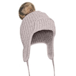 UGG Beanie w/Fur Pom Womens Hat, Sterling Heather M, 256