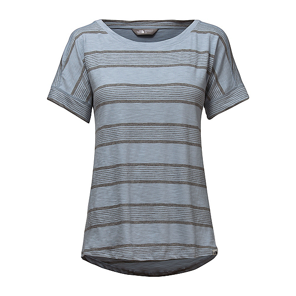 The North Face Short Sleeve Sand Scape Tee Womens T-Shirt (Previous Season) 2018, Dusty Blue Stripe, 600