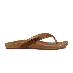 OluKai Hi'ona Womens Flip Flops, Tan-Tan, 256