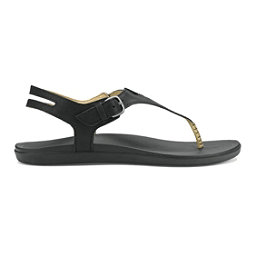 OluKai Eheu Womens Sandals, Black-Black, 256
