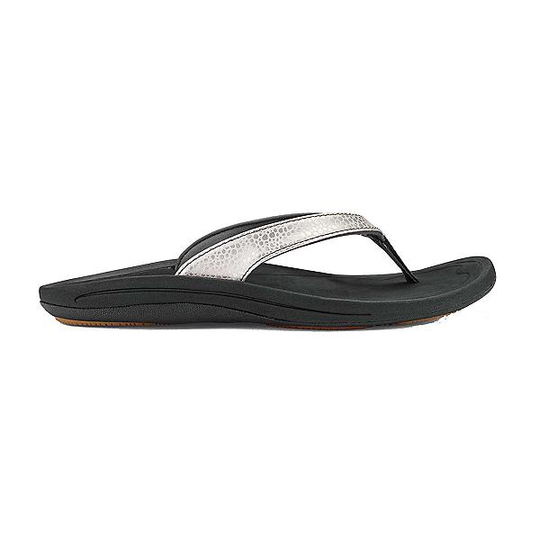 OluKai Kulapa Kai Womens Flip Flops, Silver-Black, 600