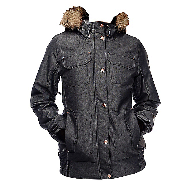 Powder Room Brittany Insulated w/Faux Fur Womens Insulated Snowboard Jacket, Black, 600