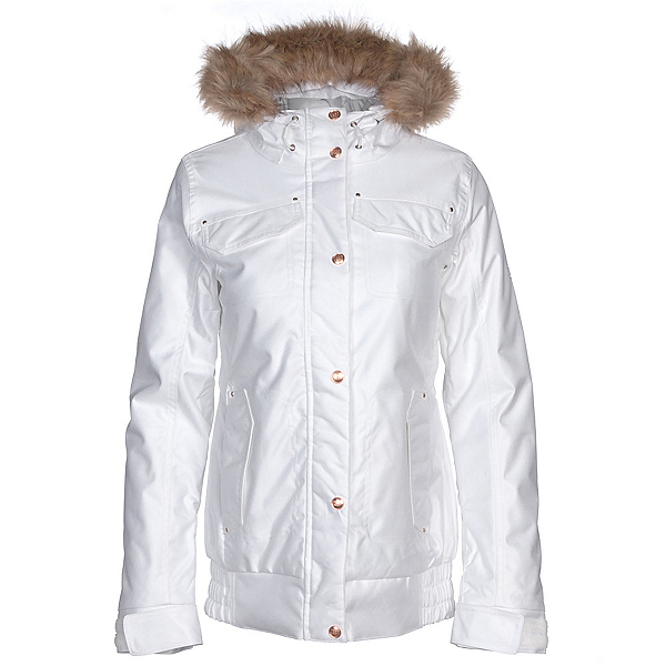 Powder Room Brittany Insulated w/Faux Fur Womens Insulated Snowboard Jacket, Bright White, 600