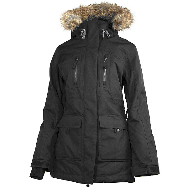 Powder Room Station w/Faux Fur Womens Insulated Snowboard Jacket, Black, 600