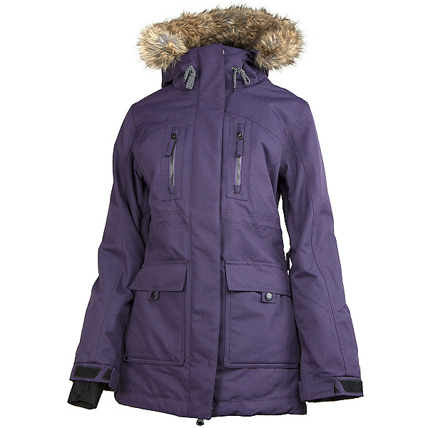 Powder Room Station w/Faux Fur Womens Insulated Snowboard Jacket, Black Orchid, 600