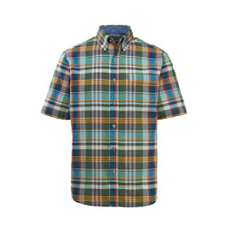 Woolrich Eco Rich Timberline Short Sleeve Madras Plaid Mens Shirt, Ink Blue Multi, 256