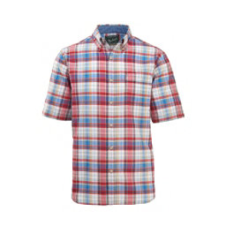 Woolrich Eco Rich Timberline Short Sleeve Madras Plaid Mens Shirt, Old Red Tartan, 256