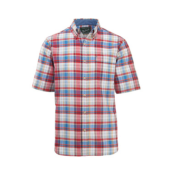 Woolrich Eco Rich Timberline Short Sleeve Madras Plaid Mens Shirt, Old Red Tartan, 600