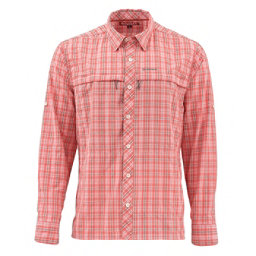 Simms Stone Cold Long Sleeve Mens Shirt, Dusty Coral Plaid, 256