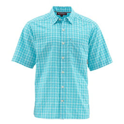 Simms Morada Short Sleeve Mens Shirt, Sea Blue Plaid, 256